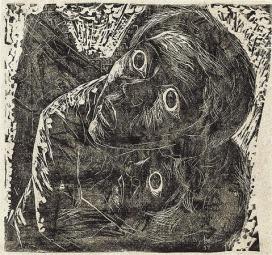Livio Abramo (1903-1992), Guerra-Medo, 1937; Xilogravura. Coleção de Artes Visuais do Instituto de Estudos Brasileiros - USP (São Paulo, SP)