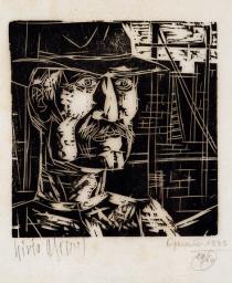 Livio Abramo (1903-1992), Operário, 1935. Xilogravura 19/60; Coleção de Artes Visuais do Instituto de Estudos Brasileiros - USP (São Paulo, SP).