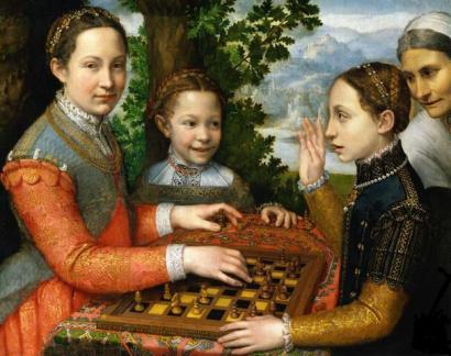 Sofonisba Anguissola, Auto-retrato, 1566. Retrato da artista e irmã jogando xadrez, 1555.