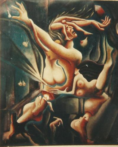 Emmanuel Nery, Fêmea completa, 1988,  acrílico sobre tela (55 x 46 cm) Coleção P. M. Bardi, SP.