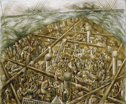 SEGALL, Lasar. Navio de emigrantes, 1939/41 óleo com areia sobre tela 230 x 275 cm