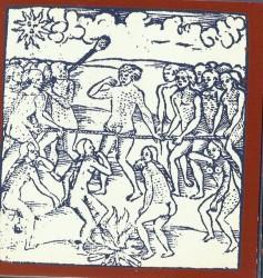 Hans Staden (c. 1525-c. 1576) Execução de um prisioneiro que está preso à mussuarana, 1557.