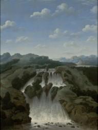 Frans Post (c. 1612-1680). Cachoeira de Paulo Afonso, 1649. Óleo sobre madeira, 58,5 x 46 cm. Doação Adriano e Ricardo Seabra e Américo Breia. Acervo MASP - Museu de Arte de São Paulo.