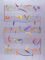 Antonio Peticov (Assis, 1946-) Opus 2 - Moon 2º Movement - Sabiá, 1998. ;gravura 107 x 70 cm. Série Birds of Paradise.
