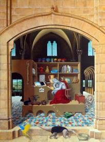 Antonio Peticov (Assis, 1946-) São Jerônimo Pensando, 2015. Pintura, 190 x 140 cm. Série Releituras.