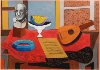 Antonio Peticov (Assis, 1946-) O Professor #10, 2013; desenho 66 x 96 cm. Série As Mesas de Picasso.