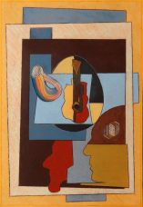 Antonio Peticov (Assis, 1946-) O Professor #19, 2014; desenho 96 x 66 cm. Série As Mesas de Picasso.