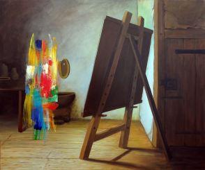 Antonio Peticov (Assis, 1946-)O pintor Holandês, 2017. Série Releituras. 100 x 120 cm.