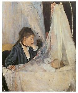 Berthe Morisot (Bourges, França, 1841 - Paris, França, 1895), O Berço, 1872. Óleo sobre tela, 56 x 46 cm. Museu d'Orsay, Paris.