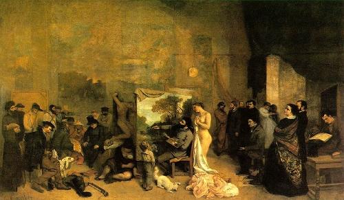 Jean Désiré Gustav COURBET (Ornans, França, 1819 - La Tour-de-Peilz, Suiça, 1877), O Ateliê do Artista,1855. Óleo sobre tela 359  x 598 cm. Museu D'Orsay, Paris.