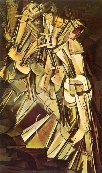 Marcel Duchamp (Blainville-Crevon, França, 1887 – Neuilly-sur-Seine, França, 1968). Nu descendo a escada, 1912. Óleo sobre tela 147 x 89,2 cm. Philadelphia Museum of Art, EUA.