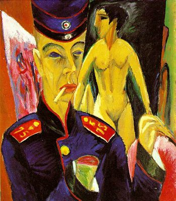 Ernst Ludwig Kirchner (Aschafemburgo, Alemanha, 1880 - Davos, Suíça, 1938) Autorretrato como soldado, 1915. Óleo sobre tela, 69, x 61 cm. Allen Memorial Art Museum, Oberlin College