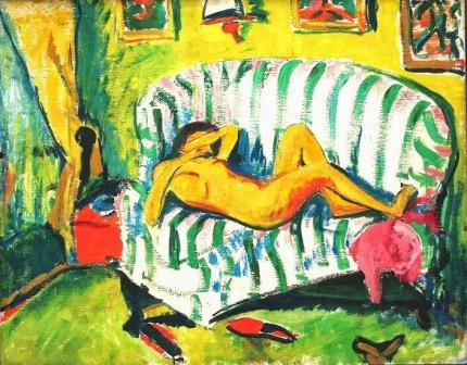 Erich Heckel (Dobeln, Alemanha, 1883- Radolzell, Alemanha, 1970), Menina deitada (nu no sofá), 1909. Óleo sobre tela 96,5 x 121,2 cm.  The Pinakothek Museum of Modern Art (Pinakothek der Moderne Munich, Alemanha).