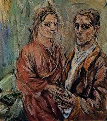 Oskar Kokoschka (Pölchrn, Áustria, 1886 - Montreaux, Suíça,1980) Retrato de Kokoschka e Alma Mahler, 1912/13. Óleo sobre tela 100 x 90 cm. Essen Museun Folkwang.