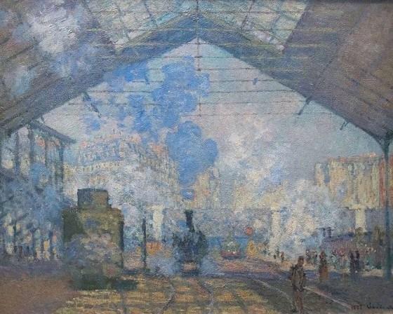 Claude Monet (Paris, França, 1840 - Giverny, França, 1926), A Estação Saint-Lazare, 1877.  Óleo sobre tela, 74,9 x 100,3 cm. Museu d'Orsay, Paris.