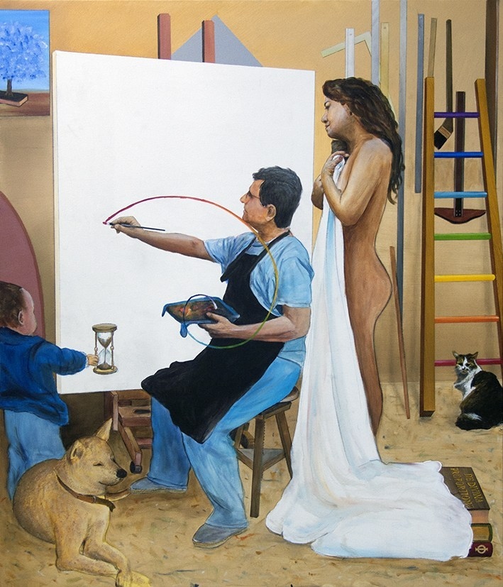 Antonio Peticov (Assis, SP, Brasil, 1946 -) Pintando com A Verdade Olhando, 2018. Acrílica sobre tela 140 x 120 cm. Série Releituras.