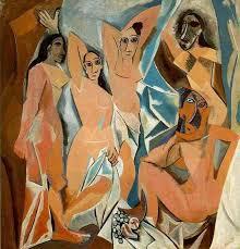 Pablo Picasso (Málaga, Espanha 1881- Mougins, França,1973)   Les  Demoiselles d'Avignon, 1907.Óleo sobre tela 243,9 x 233,7 cm. MOMA/NY.