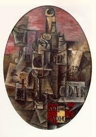 Pablo Picasso (Málaga,Espanha 1881-Mougins, França,1973), Natureza morta espanhola, 1912; tela oval de 0,46 x 0,33m. Coleção particular.