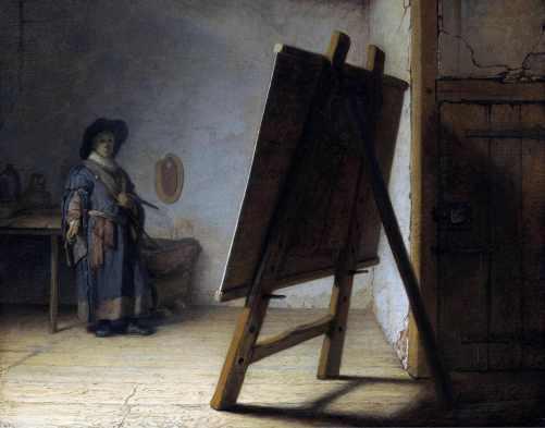 Rembrandt Harmenszoon Van Rijn (Leida, Países Baixos,1606 - Amsterdã, Países Baixos 1669) O Artista em seu Estúdio, 1629. Óleo sobre madeira 25,1 x 31,9 cm. Museu de Boston, EUA.