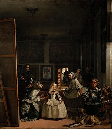 Diego Rodríguez de Silva VELÁZQUEZ (Sevilha, Espanha, 1599 - Madrid, Espanha, 1660) As Meninas ou a Corte de Felipe IV, 1656. Óleo sobre tela, 320,5 x 281,5 cm. Museu do Prado, Madri, Espanha.