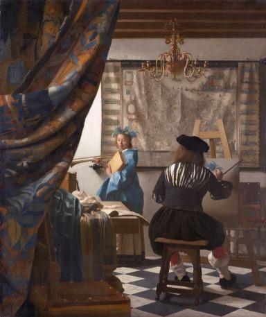 Johannes VERMEER (Deft, Países Baixos,1632 -  Idem, 1669) Arte da Pintura ou A Alegoria da Pintura ou O Pintor no estúdio (c. 1666 a c. 1688). Óleo sobre tela 120 x 100 cm. Kunsthistorisches Museum, Viena, Áustria.