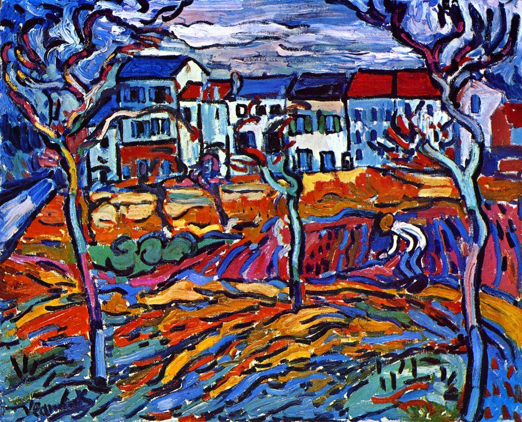 Maurice de Vlaminck (Paris, França, 1876 – Rueil-la-Gadelière, França, 1958), Hauses at Chateau, c.1905. Óleo sobre tela 81,3 x 101,6 cm. Art Institute of Chicago