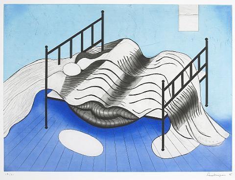 Louise Bourgeois (1911–2010) Cama azul,  1998 gravura 49,5 x 67,3 cm
